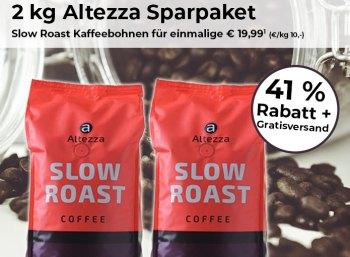 Kaffeevorteil: Zwei Kilo Altezza-Bohnen für 19,99 Euro frei Haus