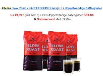 Kaffeevorteil: Vier Kilo Kaffeebohnen mit zwei Thermogläsern für 29,99 Euro