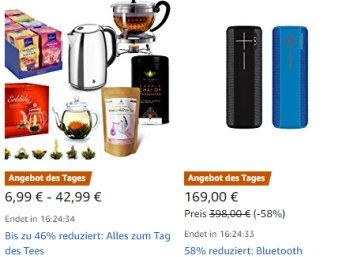 Amazon: 19 Tee-Schnäppchen für einen Tag im Angebot