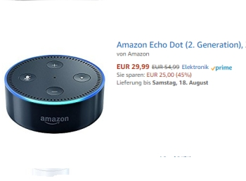 Amazon: Echo Dot refurb (2. Generation) für 29,99 Euro frei Haus