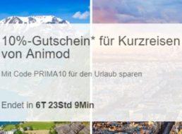 Ebay: 10 Prozent Rabatt auf Animod-Kurzreisen für eine Woche