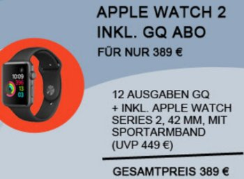 Apple Watch 2: Smartwatch inklusive GQ-Abo für 391 Euro frei Haus