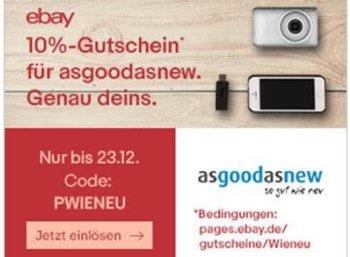 Ebay: Zehn Prozent Rabatt auf Artikel von Asgoodasnew