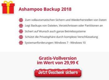 "Gratis: "" Ashampoo Backup 2018"" via Heise-Adventskalender zum Nulltarif"