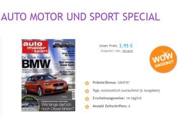 """Mini-Abo: 6 x """"Auto Motor und Sport"""" mit automatischem Ende für 3,95 Euro"""