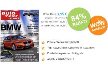 Auto Motor Sport: Sechs Ausgaben mit automatischen Abo-Ende für 3,95 Euro