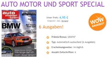 """Exklusiv: Sechs Ausgaben """"Auto Motor und Sport"""" für 4,95 Euro mit automatischem Ende"""
