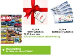 Auto Zeitung: Jahresabo für 73,75 Euro mit Gutschein über 75 Euro