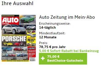 Auto Zeitung: Jahresabo für 73,75 Euro mit Bestchoice-Gutschein über 75 Euro