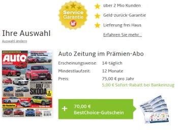 """Gratis: """"Auto Zeitung"""" im Jahresabo dank Gutschein zum Nulltarif"""