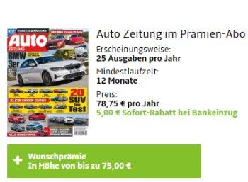 """""""Auto Zeitung"""": Jahresabo für 73,75 Euro mit Gutschein über 75 Euro"""