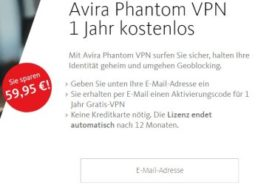 """Gratis: """"Avira Phantom VPN Pro"""" im Wert von 60 Euro zum Nulltarif"""