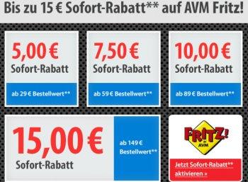 Völkner: 5 - 15 Euro Rabatt auf Fritz-Produkte von AVM