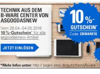 Ebay: Reduzierte B-Ware mit Gutschein nochmals zehn Prozent billiger
