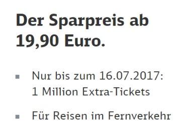 Bahn: Sparpreis-Tickets ab 19,90 Euro bis 16. Juli