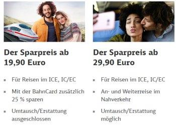 Bahn: Sparpreis-Tickets ab 19,90 Euro für deutschlandweite Strecken