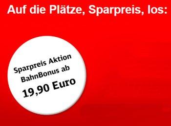 Bahn: Sparpreis-Tickets via BahnBonus ab 14,92 Euro, bis Dezember gültig