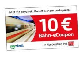 Gratis: Bahn-Coupon über zehn Euro via Paydirekt