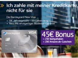 Gratis: 45 Euro geschenkt zur beitragsfreien Barclaycard New Visa