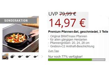 Druckerzubehoer.de: Bratmaxx Pfannenset aus drei Teilen für 19,94 Euro frei Haus