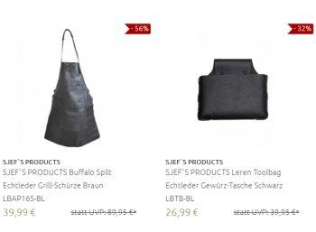 Sjef's: Büffelleder-Grillschürze und Tasche zu Schnäppchenpreisen