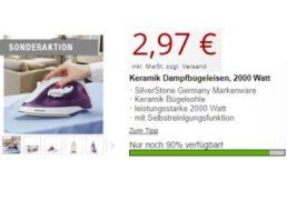 Druckerzubehoer.de: Dampfbügeleisen für 8,94 Euro mit Versand
