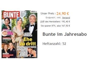 Bunte: Jahresabo zum Direktpreis von 24,90 Euro für 52 Ausgaben