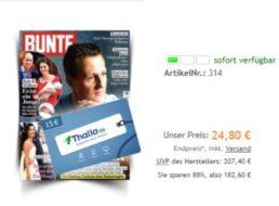 Bunte: Jahresabo für 24,80 Euro mit Thalia-Gutschein über 15 Euro