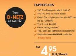 Callmobile: 200 Minuten, 100 SMS und 400 MByte im D-Netz für 4,99 Euro
