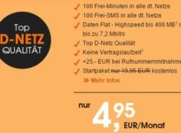 D2-Netz: Monatlich kündbarer Gelegenheitstarif für 4,95 Euro