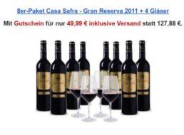 """Weinvorteil: Goldprämierter """"Casa Safra"""" aus 2011 mit Schott-Zwiesel-Gläsern für 49,99 Euro"""
