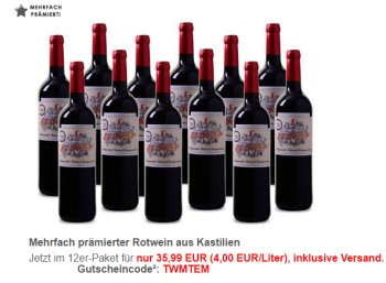 Weinvorteil: 12 Flaschen mehrfach prämierter Tempranillo für 36 Euro frei Haus