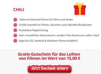 Gratis: 15 Euro Video-Guthaben bei Chili.tv via Heise-Adventskalender