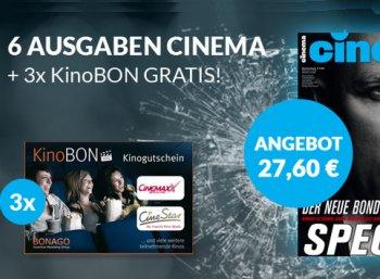 Halbjahresabo mit drei Kino-Gutscheinen für 27,60 Euro