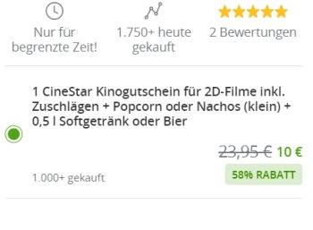 Cinestar: Kinogutschein mit Popcorn und Getränk für 10 Euro