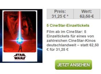 Dailydeal: 5 Cinestar-Tickets für zusammen 31,25 Euro