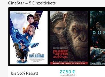 Dailydeal: Fünf Cinestar-Tickets für 27,50 Euro
