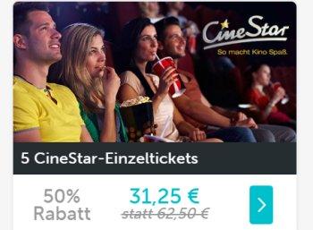 Dailydeal: Fünferpack Kinotickets von Cinestar für 31,25 Euro