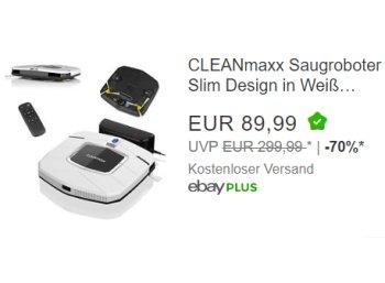 Ebay: Cleanmaxx Staubsaugerroboter für 89,99 Euro frei Haus