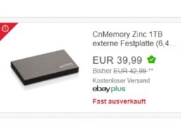 Ebay: Externe Festplatte mit einem TByte als B-Ware für 35,99 Euro frei Haus
