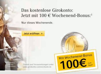 100 Euro Prämie zum Gratis-Girokonto der Commerzbank