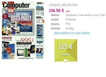 Computerbild mit DVD: Jahresabo für 130,50 mit Scheck über 125 Euro