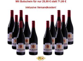 """Weinvorteil: Zwölf Flaschen """"Comte de Caransac"""" für 29,99 Euro frei Haus"""
