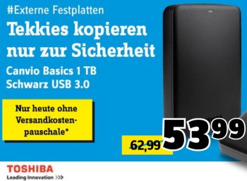 Conrad: Toshiba Canvio Basics für 48,44 Euro frei Haus