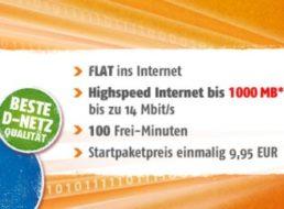 D-Netz: 1 GByte plus 100 Freiminuten für monatlich 9,95 Euro