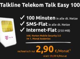 D1: SMS-Flat, Internet-Flat 250 MB und 100 Freiminuten für 2,90 Euro