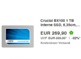 Ebay: Crucial SSD mit einem  TByte für 269,90 Euro frei Haus