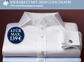 Charles Tyrwhitt: Vier bügelfreie Hemden für 125,10 Euro
