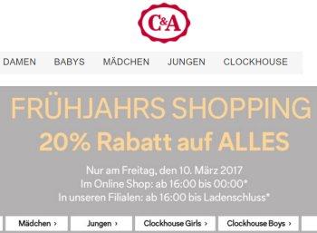 C&A: 20 Prozent Rabatt bis Mitternacht