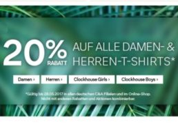 C&A: T-Shirts mit 20 Prozent Rabatt und Gratis-Versand